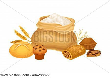Sack With Flour And Sweet Pastry And Bread Loaf Vector Composition