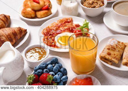 Buffet Service. Tasty Breakfast Served On Table