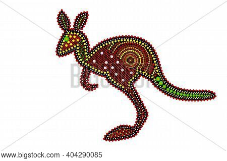 Kangaroo Isolated On White Background. Australia Aboriginal Kangaroo Dot Painting. Aboriginal Tribal