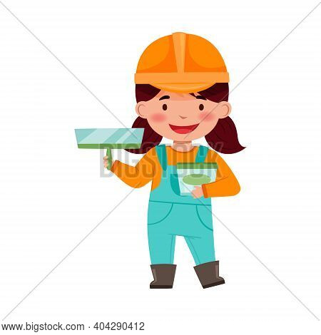 Little Girl Builder Wearing Hard Hat With Applicator Tool And Pail Vector Illustration
