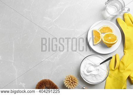 Flat Lay Composition With Baking Soda On Light Grey Table. Space For Text
