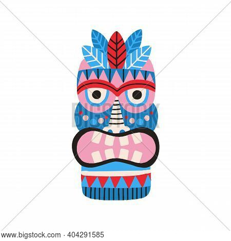 Funny Ethnic Zulu Tribal Mask Showing Teeth In Anger. Dreaded Ancient Ritual Symbol Or Souvenir. Han