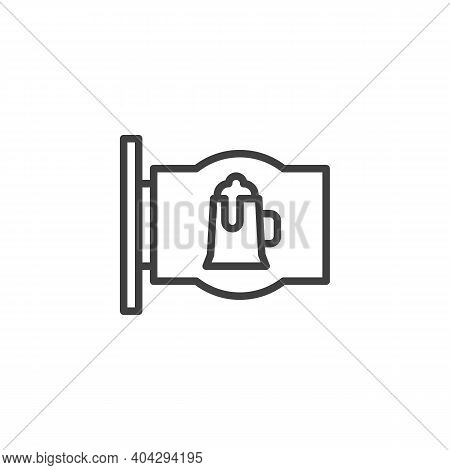 Beer Pub Signboard Line Icon. Linear Style Sign For Mobile Concept And Web Design. Pub Sign With Bee