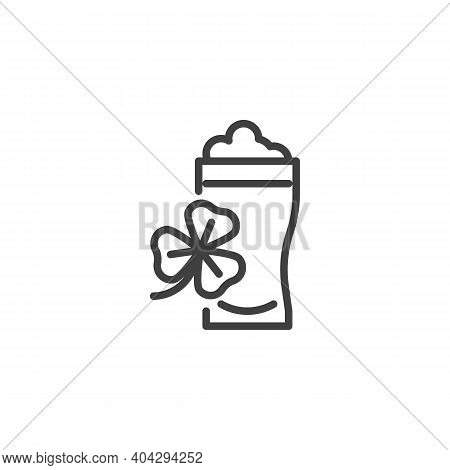 Pint Beer And Clover Line Icon. Linear Style Sign For Mobile Concept And Web Design. Glass Of Beer A