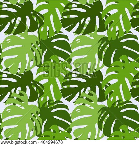 Monstera Leaves Seamless Pattern. Jungle Botany Green On Light Blu Background For Web, For Print, Fo