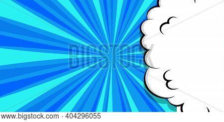 Comic Book Cartoon Speech Bubble For Text. Cartoon Puff Cloud Blue Background For Text Template. Pop