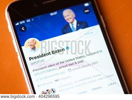 BAYONNE, FRANCE - JANUARY 20, 2021: President Joe Biden official Twitter account on the day he is sworn in as the 46th president of the United States.