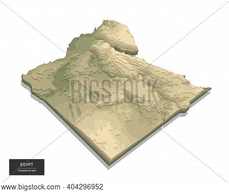 Egypt Map - 3d Digital High-altitude Topographic Map. 3d Vector Illustration. Colored Relief, Rugged