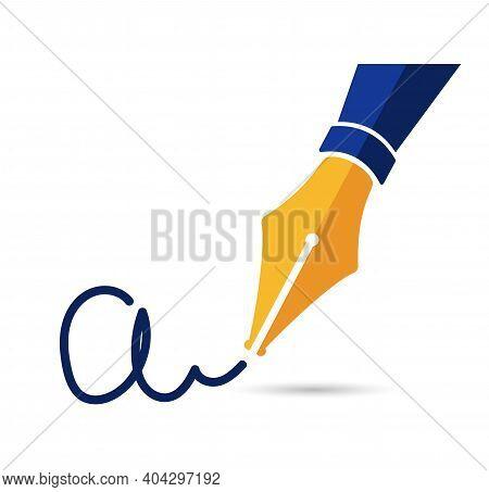 Personal Signature Written With A Fountain Pen. Gold Fountain Pen