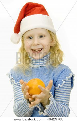 Girl In The Hat Of Santa Claus