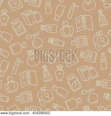 Perfume Bottles Beige Seamless Pattern. Vector Background Included Line Icons As Glass Sprayer, Luxu