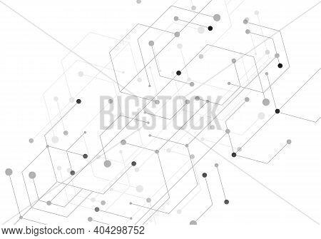 Abstract Hexagon Technology Connect For Concept Design. Abstract Geometric Background. Digital Techn