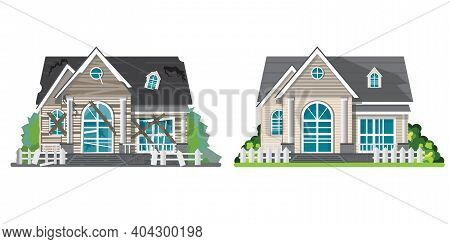 Home Renovation. House Before And After Repair Isolated On White. New And Old Suburban Cottage. Reno