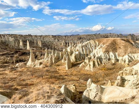 View On Hills And Mountains In Cappadocia, Turkey. Limestone Formations. Spectacular Karst Landform