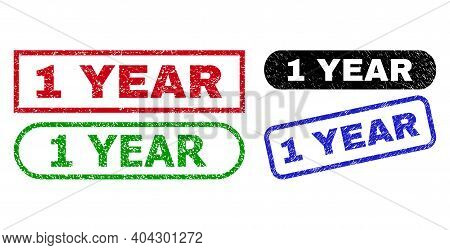 1 Year Grunge Watermarks. Flat Vector Distress Watermarks With 1 Year Slogan Inside Different Rectan