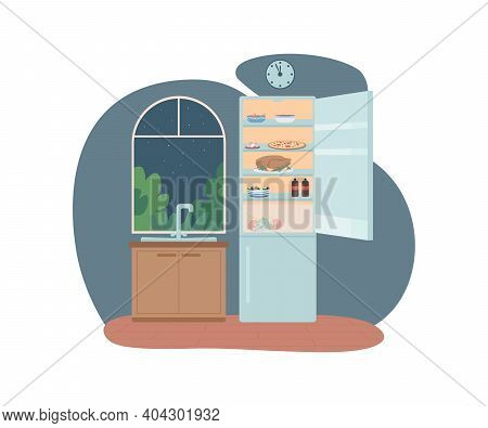 Night Eating 2d Vector Web Banner, Poster. Unhealthy Lifestyle. Open Fridge In Kitchen At Nighttime