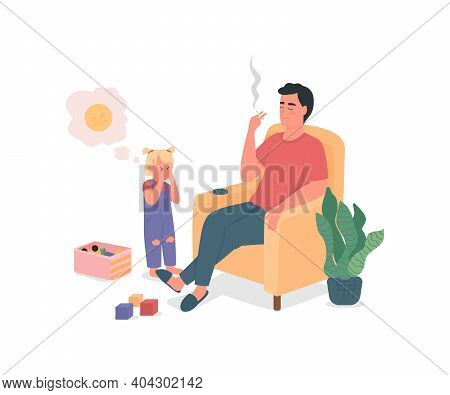 Smoking Father With Sad Child Flat Color Vector Detailed Characters. Bad Habits, Drug Addiction. Kid