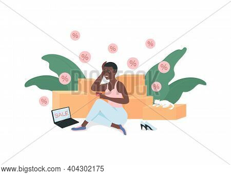 Shopaholic Flat Color Vector Detailed Character. Woman Addicted To Buying Clothes. Sale, Black Frida