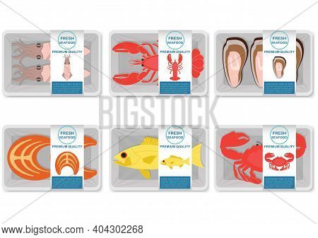 Seafood Vector Packaging Illustration.salmon, Squid, Fish, Mussels, Crab, Lobster With White Foam Tr