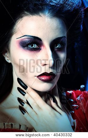 Portrait of a beautiful female vampire.