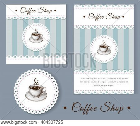 Coffee Shop Identity Layout Template. Vintage Illustration, Retro Style Banner Or Poster, Emblem And