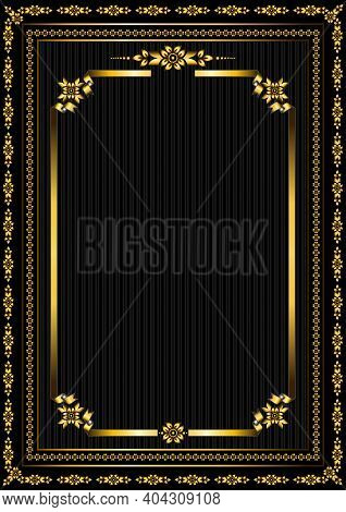 Original Gold Ribbon Frame With Curved Edges Framed By Gold Borders With Gold Patterns Of Stylized F