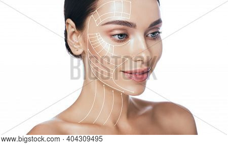 Lifting Lines, Advertising Of Face Contour Correction, Skin And Neck Lifting. Facial Rejuvenation Co