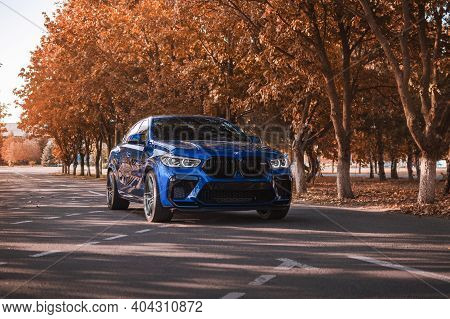 Kherson, Ukraine - September 2020. Brand New Bmw X6m Competition In A Beautiful Blue Color In The Au