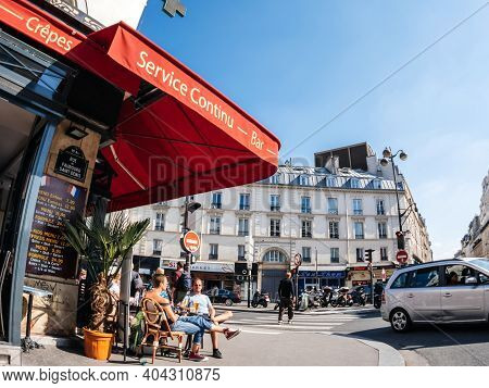 Paris, France - May 20, 2018: Ultra Wide-angle View Of French Haussmannian Building On Rue Du Faubou