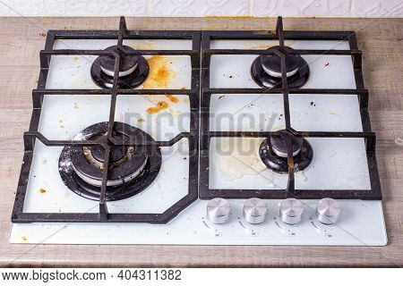 Dirty Gas Hob, Soiled In Cooking, Stove In Grease. Unsanitary Conditions, Disorder In The House.