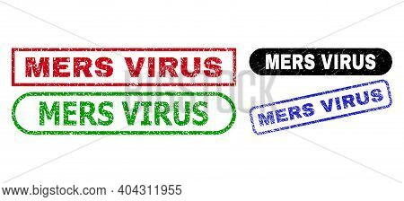 Mers Virus Grunge Stamps. Flat Vector Grunge Seal Stamps With Mers Virus Slogan Inside Different Rec