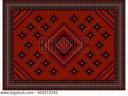 Luxurious Vintage Carpet In Burgundy Shades With A Diamond Pattern In The Center With Patterns Of Bl
