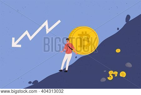 Miner Trying To Hold Big Bitcoin Coin From Falling Down. The Fallen In Price Bitcoin Flying Down. Bi