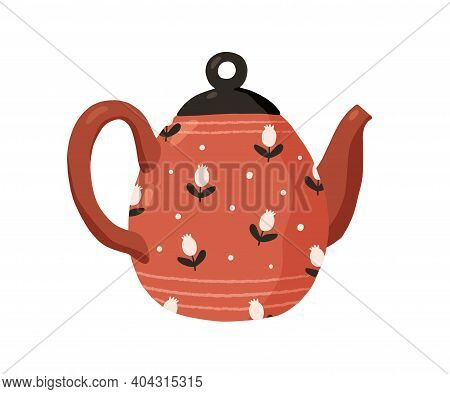 Cute Ceramic Colored Teapot Isolated On White Background. Red Tea Kettle Painted In Dots And Flowers