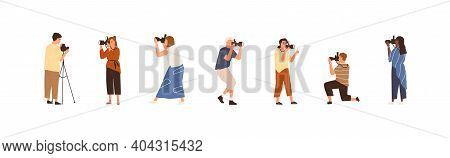 Set Of Professional Photographers Or Cameramen At Work. Collection Of Creative Men And Women Holding
