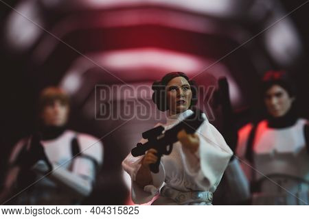 JAN 20 2021: recreation of scene from Star Wars A New Hope with Princess Leia jail break on the Death Star  - Hasbro action figure