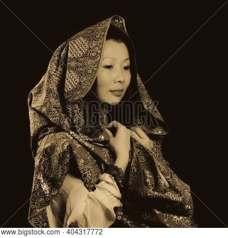 Mysterious Riddle, Portrait Of A  Elegant Asian Woman Covered With Patterned  Shawl, Old-style Photo