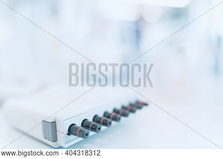 Abstract Laboratory Background Wit Free Space For Text. Web Medical And Research Web Banner Or Borde