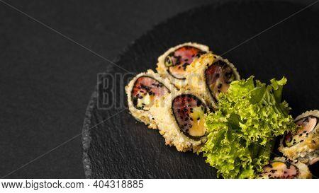 Custom Sushi Roll In Tempura With Nori, Fresh Salmon, Tuna, Avocado, Masago Caviar, Drizzled With Pi