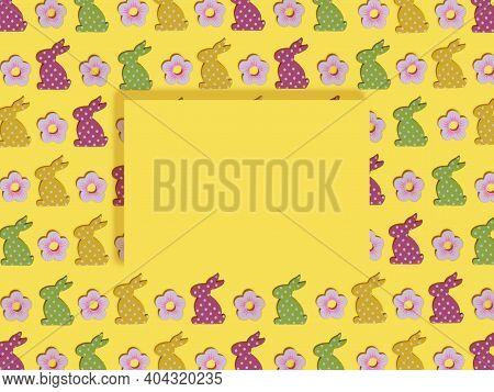 Happy Easter Mockup Greeting Card On Colored Rabbits Background. Flat Lay Composition With Easter Ra