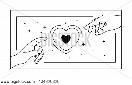 Vector Illustration Of Hands Reaches For The Heart, Love Magic. Logo Design Element In Rectangular S