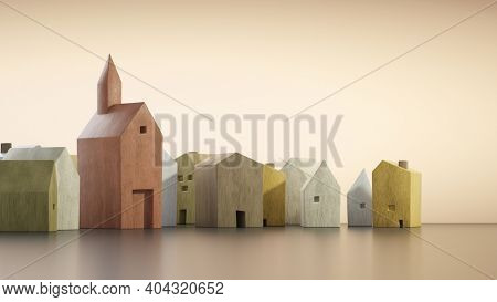 Church at home, community service at home, gospel mission. 3D illustration