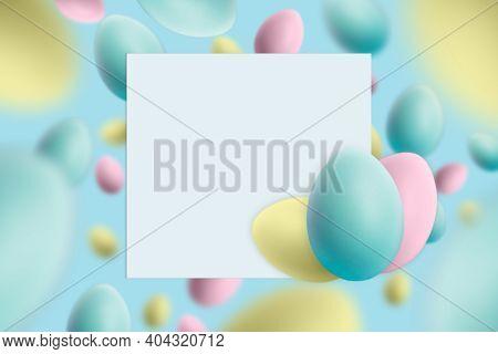 Easter Mockup On Colored Levitating Easter Eggs Background.easter Greeting Card, Pattern, Banner Or
