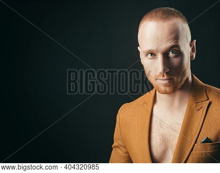 Portrait Of Handsome Blonde Young Man. Mens Sexuality Or Attraction And Charisma