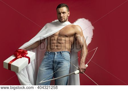 Valentines Day. Handsome Man Angel. Sexy Guy Cupid With Angels Wings. Amour. February 14. Isolated O