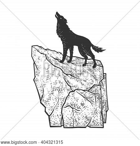 Coyote Wolf Howling On Rock Sketch Engraving Vector Illustration. T-shirt Apparel Print Design. Scra
