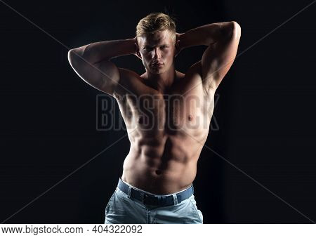 Naked Man. Nude Male Torso. Sexy Muscular Guy. Topless Muscular Fitnes Model Body