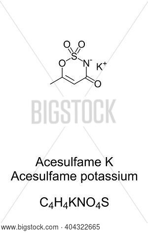 Acesulfame Potassium Chemical Formula And Skeletal Structure. Also Acesulfame K Or Ace K. Noncaloric