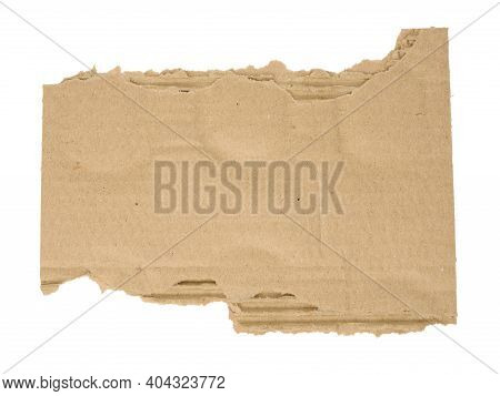 Torn Piece Of Corrugated Cardboard Isolated On White Background, Close Up