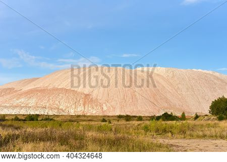 Summer Landscape On The Salt Mountains Against The Blue Sky. Mining Industry. Extraction Of Silica F